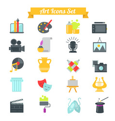 Set of art icons in flat design with long shadows vector