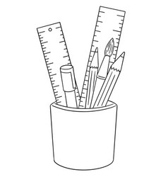 set of pen pencil paintbrush and ruler vector image