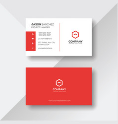 Simple and clean red and white business card vector