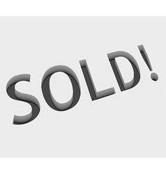 Sold text design vector