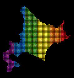 Spectrum dotted hokkaido island map vector