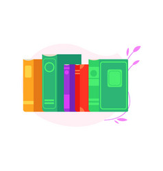 standing stack of books with colorful covers and vector image