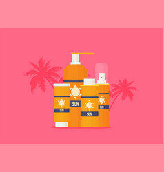 sunscreen care sun protection cosmetics cream vector image