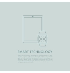 Tablet pc with smart watch vector image