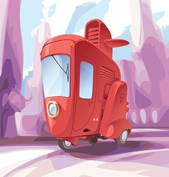 Three-wheeled Retro City Car vector