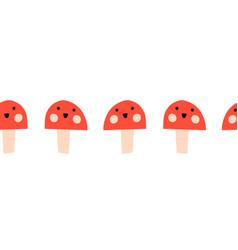 Toadstools smiling seamless kids border vector