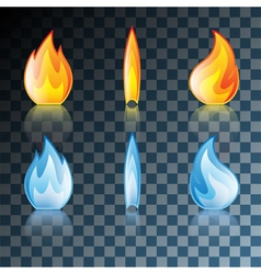 Transparent set flame vector image