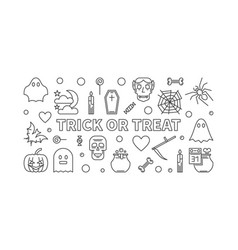 trick or treat horizontal halloween outline vector image
