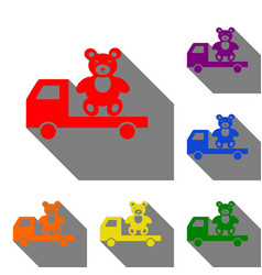 truck with bear set of red orange yellow green vector image