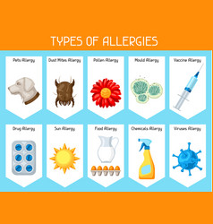 types of allergies background with allergens and vector image