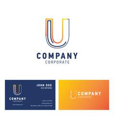 u company logo design with visiting card vector image
