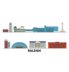 United states raleigh flat landmarks vector
