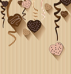 Valentines Day and Heart chocolate on colorful vector image