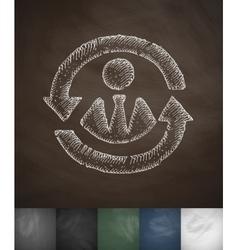 Versatile worker icon Hand drawn vector