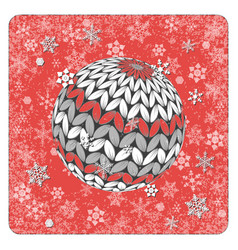 vintage card knitting ball snowflakes background vector image