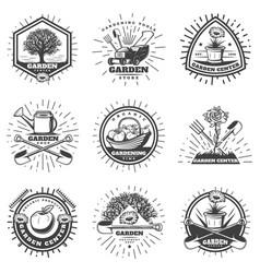 vintage monochrome gardening logos set vector image