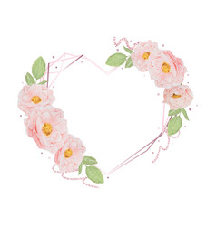 watercolor pink rose heart frame with glitter for vector image