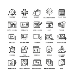 Web and mobile apps development line icons vector