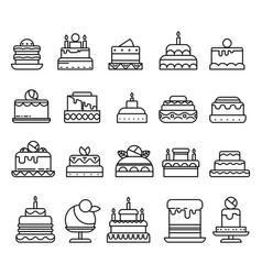 Wedding and birthday cakes isolated line icons vector