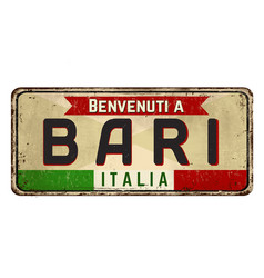 Welcome to bari vintage rusty metal sign vector