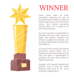 winner of competitions and gold cup color poster vector image