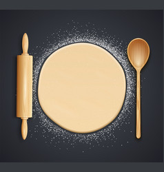 Wooden rolling pin spoon vector