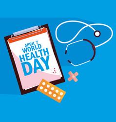 World health day card with clipboard and set icons vector