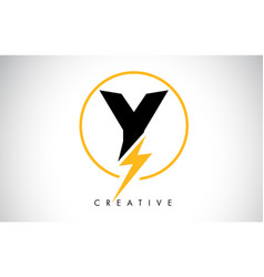 Y letter logo design with lighting thunder bolt vector