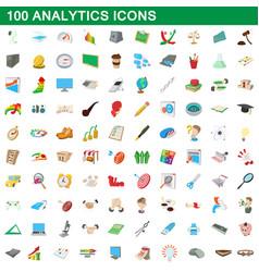 100 analytics icons set cartoon style vector image vector image