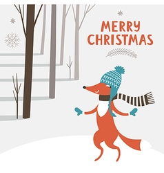 Christmas card with cute fox vector image vector image