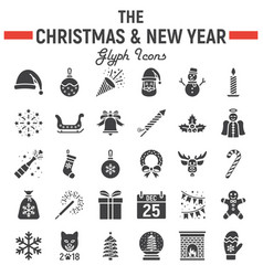 christmas glyph icon set new year signs vector image vector image