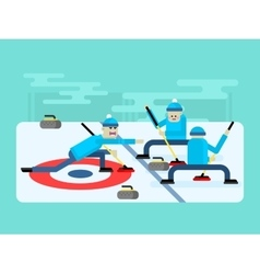 Curling winter game vector image vector image