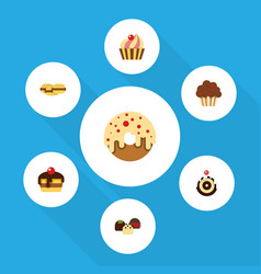 flat cake set of dessert cake doughnut and other vector image vector image