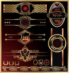 set of vintage framed golden labels vector image