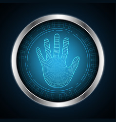 technology cyber security hand palm circle vector image vector image
