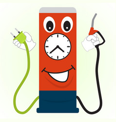 cartoon gas station with a filling nozzle and vector image