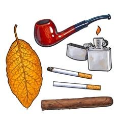 Sketch style smoking pipe lighter cigar vector image