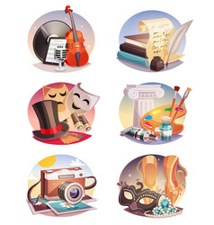 arts round compositions set vector image vector image