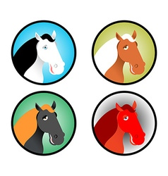 Horse icons set Head of animal with multi-colored vector image