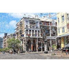 original sketch color drawing of Kyiv vector image vector image