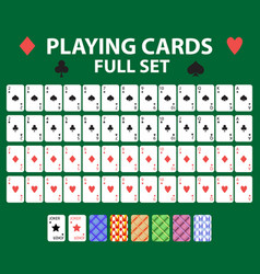 playing cards full deck for poker black jack vector image