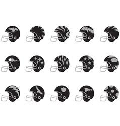 black football helmet set vector image vector image