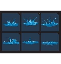 Blue water splashes frame set for game vector image vector image