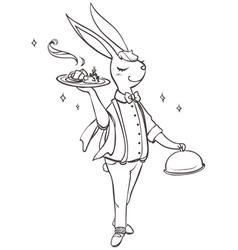 bunny waiter vector image