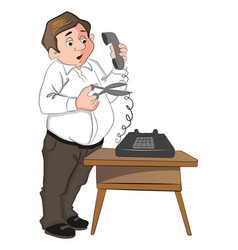 man cutting telephone cord vector image vector image