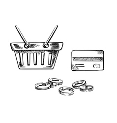 Shopping cart with credit card and coins vector image vector image