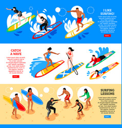 surfing isometric horizontal banners vector image