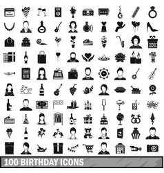 100 birthday icons set simple style vector