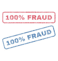 100 percent fraud textile stamps vector image