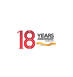 18 years anniversary template with red color vector
